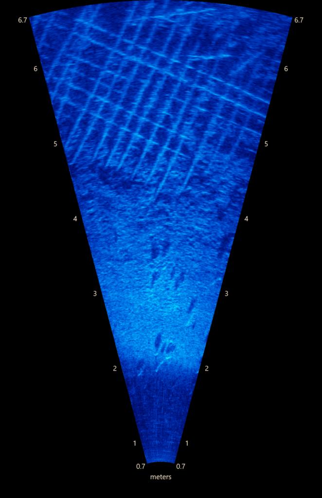 Hibbard Inshore Brasil - Inspeção subaquática sonar observando erosão no concreto e armadura exposta
