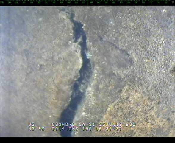 Inspeção subaquática em Barragem - Trinca em laje de concreto - Hibbard Inshore Brasil.