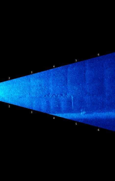 Imagem sonar de parede de descarga de fundo com erosão